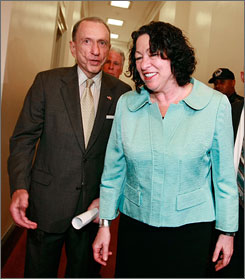 Supreme Court nominee Sonia Sotomayor, visiting with Sen. Arlen Specter, D-Pa., in Washington on Thursday, has broken her ankle at LaGuardia Airport in New York, the White House reports.