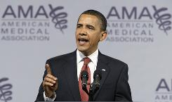 President Obama speaks to the American Medical Association during the group's annual meeting in Chicago on Monday about health care.
