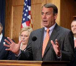 House Minority Leader John Boehner, R-Ohio, speaks Wednesday on Capitol Hill as both parties try to bridge differences and forge toward an October deadline on the nation's health care overhaul