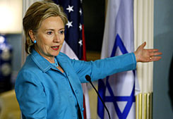 After a news coference with Israeli Foreign Minister Avigdor Lieberman at the State Department in Washington on Wednesday, Secretary of State Hillary Rodham Clinton said the U.S. will pursue opportinities to discuss big issues with Iran.