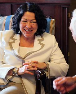 Supreme Court nominee Judge Sonia Sotomayor meets with Sen. Frank Lautenberg (D-NJ) in the US Capitol in Washington, DC.