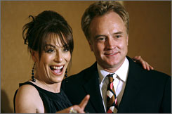 Jane Kaczmarek, left, and Bradley Whitford, seen here at an event in Feb. 2007, are divorcing after more than 16 years of marriage according to Whitfield's publicist.