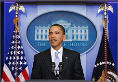 President Obama holds a news conference at the White House on Tuesday.