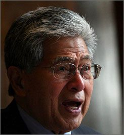 Sen. Daniel Akaka, D-Hawaii, chairman of the Senate Veterans Affairs Committee, is calling for improvements at the VA in the wake of a scandal in which thousands of veterans were exposed to HIV and other infections after receiving colonoscopies with improperly maintained equipment. Here, Akaka takes part in a Senate hearing in Washington in May 2008.