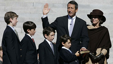 Mark Sanford is sworn in for a second term in 2007 as South Carolina's governor with his wife, Jenny, and their four sons standing by.