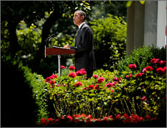 President Obama said now is the time to pass global warming legislation while kspeaking from the Rose Garden at the White House in Washington on Thursday.