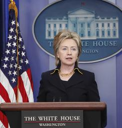 Secretary of State Hillary Rodham Clinton, shown here speaking at the White House on May 19, is the subject of a documentary that is at the center of an ongoing campaign finance case before the Supreme Court.