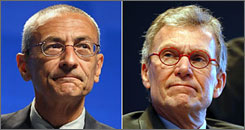 Former White House chief of staff John Podesta, left, and former Senate majority leader Tom Daschle, right, have proposed a framework for paying for a proposed $1.2 trillion health care overhaul.