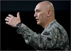 Gen. Ray Odierno says Iran continues to support and train militants in Iraq. Here, Odierno talks to reporters at the Pentagon outside Washington on May 8.