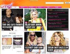 "A screenshot of Yahoo's popular ""omg"" celebrity news site."