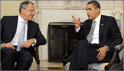 President Obama meets with Foreign Minister of Russia Sergey Lavrov in the Oval Office at the White House in May.