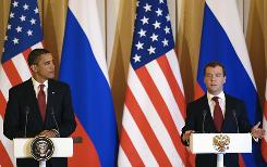 Russian President Dmitry Medvedev, right, and President Obama speak after the signature of the Joint Understanding on Strategic Arms Reduction during a joint press conference at the Kremlin in Moscow on Monday.