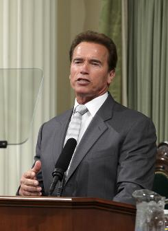 Gov. Arnold Schwarzenegger speaks about California's budget crisis before a joint session of the Legislature at the Capitol in Sacramento on June 2.