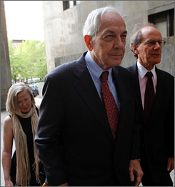 The New York trial of Anthony Marshall, the son of late socialite Brooke Astor, has been posponed because Marshall is ill, a defense attorney says. Here, Marshall enters court in Manhattan on April 29.