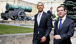 President Obama and Russian President Dmitry Medvedev, right, walk near the Czar Cannon on the territory of the Kremlin in Moscow on Tuesday. The development of a planned U.S. missile shield would cast serious doubt on future nuclear arms cuts, Russian Foreign Minister Sergei Lavrov was quoted as saying by news agencies.