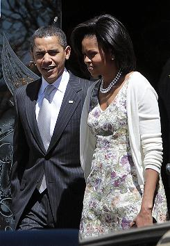 President Obama and his wife Michelle leave St. John's Episcopal Church following Easter Sunday services in Washington, D.C., April 12.