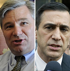 Sen. Sheldon Whitehouse, D-R.I., left, and Rep. Darrell Issa, R-Calif., have different opinions on the stimulus package.