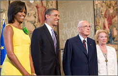 First lady Michelle Obama and President Obama appear with Italian President Giorgio Napolitano and his wife, Clio, prior to their meeting at the Quirinale, the Italian presidential palace in Rome, on Wednesday.