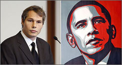 "Shepard Fairey, left, creator of the ""Hope"" poster that features President Obama, will plead guilty to vandalism charges in Boston, his lawyer said. Here, Fairey is seen appearing before Boston Municipal Court on Friday."