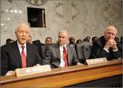 Sen. Orrin Hatch, R-Utah, left, delivers his opening remarks at the start of hearings on Monday in Washington to review the nomination of Sonia Sotomayor to the U.S. Supreme Court. Sens. Jeff Sessions, R-Ala., center, and Patrick Leahy, R-Vt., right, look on.