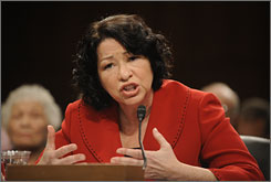 Supreme Court nominee Sonia Sotomayor answers a question from Sen. Jeff Sessions, R-Ala., during Senate Judiciary Committee confirmation hearings Tuesday.