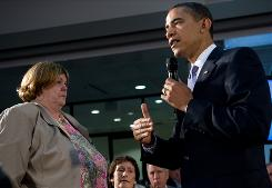 "President Obama, answering a question from cancer patient Debby Smith at a forum in Annandale, Va., on July 1, says health care ""is no longer a problem we can wait to fix."""