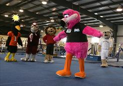 Student mascots practice their skills at the Keystone Mascot Camp at Paramount Sports Complex in Annville, Pa.
