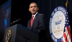 President Obama speaks during the NAACP 100th Anniversary convention in New York on Thursday.