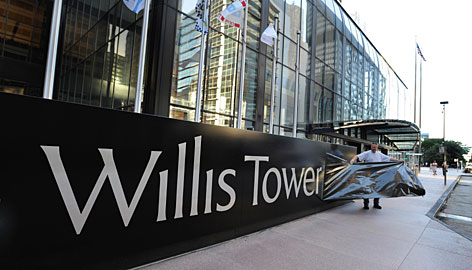 Sears Tower was renamed Willis Tower on Thursday after Willis Group, the global insurance broker, in a changing of the guard that underscores Chicago's increasing importance as a major global financial and business center.