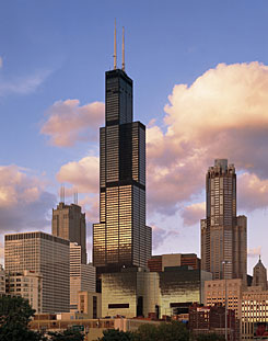 Willis Tower, formerly Sears Tower, is the third tallest building in the world behind Taipei 101 in Taiwan and the Petronas Towers in Kuala Lumpur, Malaysia.