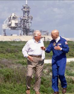Television journalist Walter Cronkite interviews astronaut Story Musgrave on April 26, 1994, at the Kennedy Space Center for the Discovery Channel's Cronkite Report.