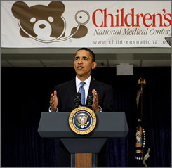 President Obama spoke from Children's National Medical Center in Washington Monday to tell reporters that he plans to fight to get a health care overhaul plan passed by the end of the year.
