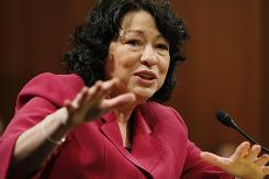 Supreme Court nominee Sonia Sotomayor testifies on Capitol Hill in Washington on July 16  before the Senate Judiciary Committee.