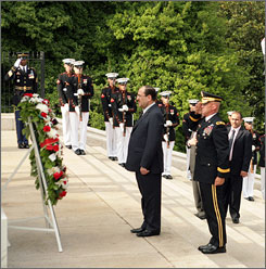 Iraqi Prime Minister Nouri al-Maliki visits the Tomb of the Unknowns at Arlington National Cemetary on Thursday.