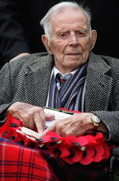 Harry Patch, seen in this 2008 photo participating in a Remembrance Day Service in Wells, England, died Saturday. He was the last surviving British soldier who served in World War I.