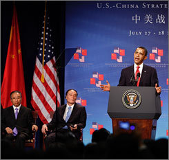President Obama opens the U.S.-China Strategic and Economic Dialogue in Washington on Monday as Dai Bingguo, China's state councilor, left, and Wang Qishan, China's vice premier, center, look on.