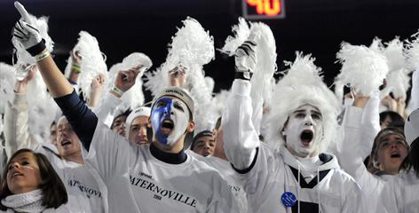 Penn State fans cheer during their team's 46-17 victory over the University of Michigan Wolverines at Beaver Stadium in University Park, Pa., Oct. 18. Penn State tops The Princeton Review's list of party schools this year.