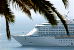 About 60 crewmembers on the Voyager of the Seas cruise ship have swine flu, a French official says. The ship arrived Friday in the French port of Villefranche-sur-Mer.