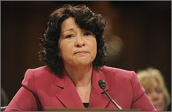 Supreme Court nominee Sonia Sotomayor testifies before the Senate Judiciary Committee on July 16 in Washington.