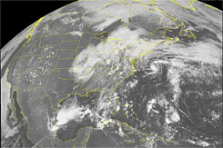 The season's first Tropical Depression circulates just northeast of Cape Hatteras, N.C., on May 29.