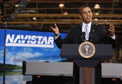 President Obama speaks Wednesday on the economy at the Monaco RV maker in Wakarusa, Ind.