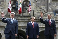 Canada's Prime Minister Stephen Harper, left, Mexico's President Felipe Calderon and President Obama pose Monday for the official photo at the North American Leaders' Summit in Guadalajara.