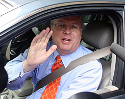 Former White House aide Karl Rove leaves law offices in Washington, D.C., on May 15.