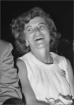 Eunice Kennedy Shriver, who died at the age of 88, laughs during a satirical presentation in Washington in April 1968.