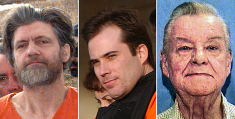 From left, Ted Kaczynski, Eric Rudolph and James Von Brunn conducted attacks on their own.