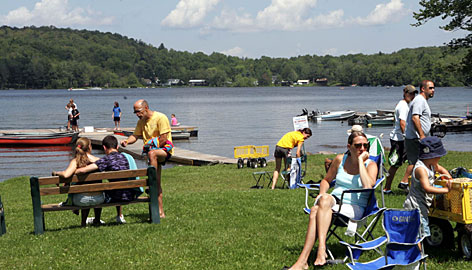 Visitors enjoy an August afternoon at the Hunter Lake Campground, two hours from New York City. Daniel and Diane Schuler were seasonal regulars at the campground.