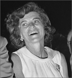 Eunice Kennedy Shriver laughs as she watches a parody of her husband Sargent Shriver in Washington D.C.
