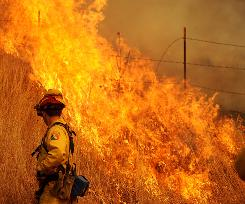 A firefighter battles the Lockheed Fire as it threatens to jump a road in unincorporated Santa Cruz County, Calif., on Friday.