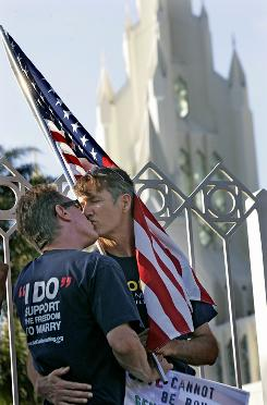 A Kiss-in was held last month outside a Mormon church in San Diego to protest the recent arrest of a gay couple kissing on Main Street Plaza in Salt Lake City.