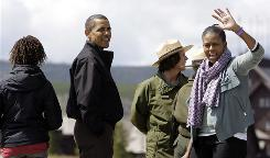 President Obama and his family tour Yellowstone National Park in Wyoming.